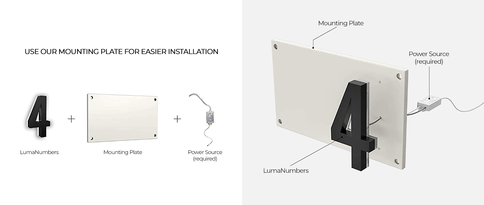 LN LUMANUMBERS Vertical Mounting Plate for 7-Inch Lighted Address Numbers